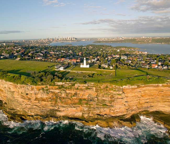 Aerial Macquarie Lighthouse Vaucluse Sydney Harbour 650X550
